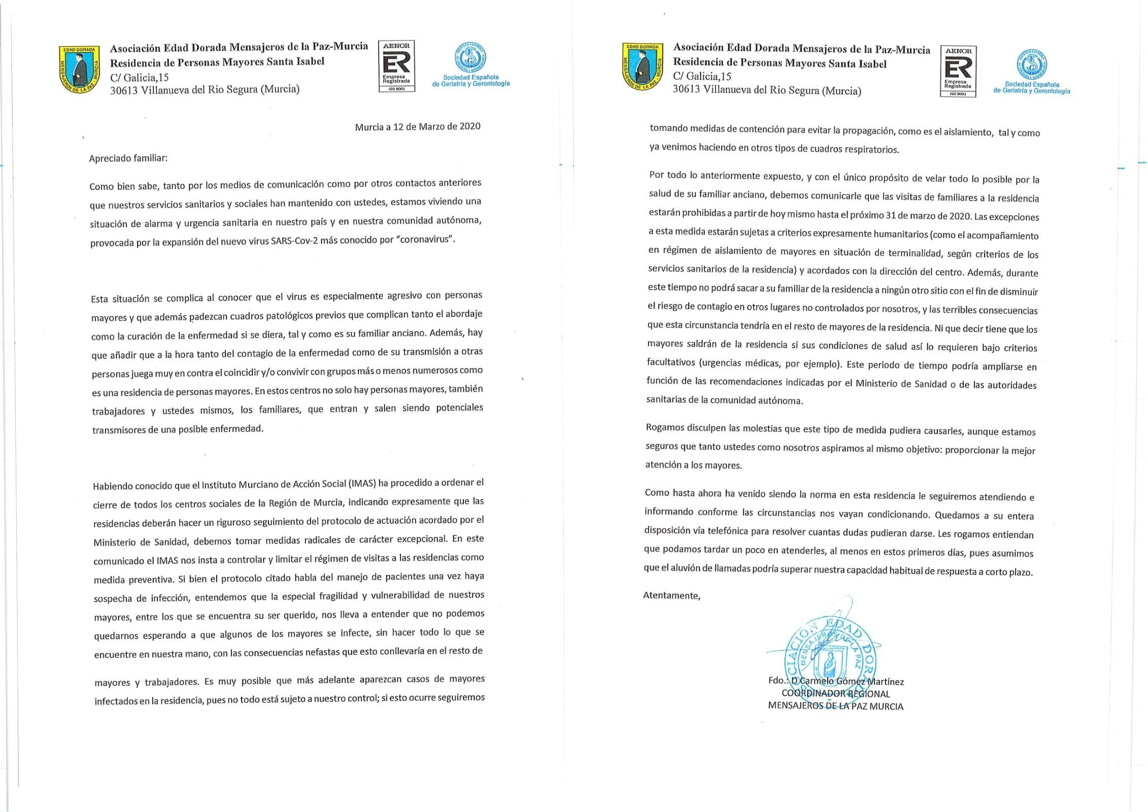 Carta Mensajeros de la Paz Murcia